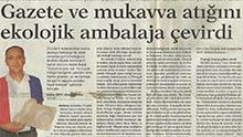 Dünya Gazetesi Kobiden Eki - Gazete ve mukavva atığını ekolojik ambalaja çevirdi