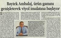 Dünya Gazetesi Kocaeli Eki - Baytek Ambalaj, ürün gamını genişleterek viyol imalatına başlıyor